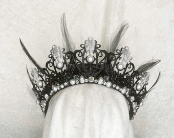 CRUELLA Feather Crown and Mask - by Loschy Designs