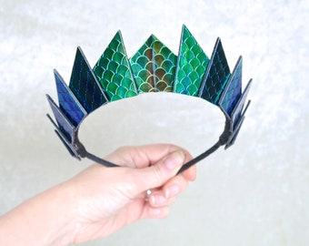 Cosmic Slytherin Green Holographic Blade Crown - Thin Headband  - by Loschy Designs