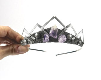 Silver Yara Tiara with Raw Amethyst - by Loschy Designs