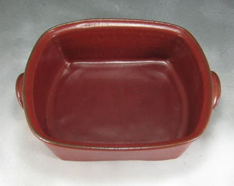 Casserole Dish Medium Lasagna Pan Rectangle Casserole Serving Dish in Rust Red With Handles Hand Thrown Stoneware Pottery Ceramic  3