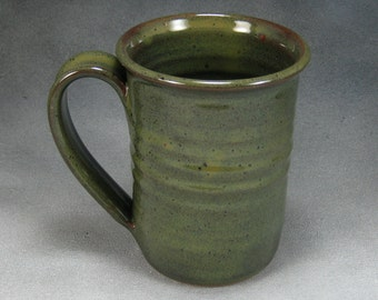 Large Coffee Mug Green 16 Ounce Ceramic Coffee Mug Green Ceramic Cup Pottery Coffee Mug Hand Thrown Stoneware Pottery A