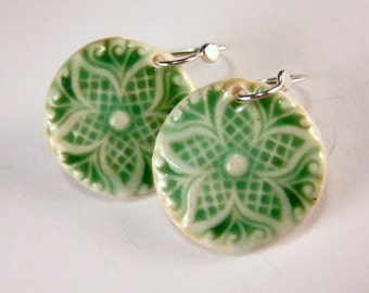 Ceramic Earring Forest Green Porcelain Star Earrings With Hand Forged Sterling Silver Earwires
