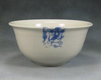Porcelain Bowl 22 oz Blue and White Noodle Bowl, Pho Bowl, Rice Bowl, Soup Bowl, Stir Fry Bowl Hand Thrown Porcelain Pottery 1