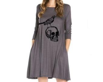 Womens Skull Dress with pockets Plus Size Dresses Skulls Shirt Women's Plus Size Clothing Apparel Edgar Allen Poe print long sleeve