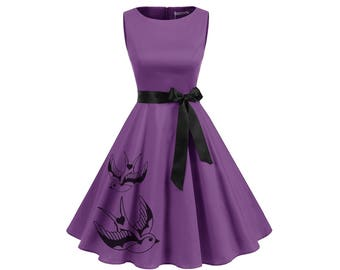 Plus size Purple Dress Retro Red Pin Up Tattoo inspired Dresses Women's clothing with birds womens clothing 2XL 3XL A-line Fit and Flare