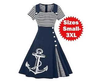 Anchor Dress, Plus Size Lolita, Vintage sailor, Navy Graduation dress, Nautical theme party dresses, plus size fashion, High waist skirt