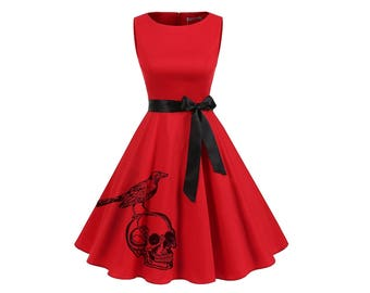 Womens Skull Dress Retro Red Pin Up Rockabilly Dresses Women's clothing Skulls and birds plus size clothing bridesmaids A-line Fit and Flare