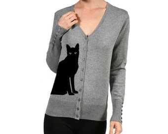 Cat Cardigan Sweater Women's Shirts Trendy Clothing Screen Print Cats  Sweaters Gray Cute Retro Sweaters Button Up Warm and Cozy V-neck