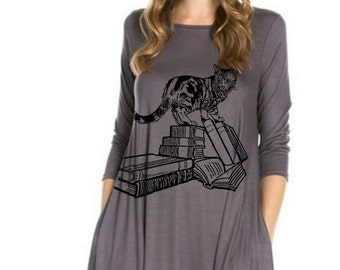 dc8228dc3a568 Women s Cat Dress   Plus size clothing   A line Dresses   Womens Clothing    Book Print   Gifts for book lovers   Tunic with pockets