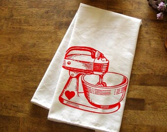 baking kitchen towel red mixer tea towel cute kitchen towels screen print retro indie housewares gifts - Bakers Gonna Bake Kitchen Redwork Embroidery Designs