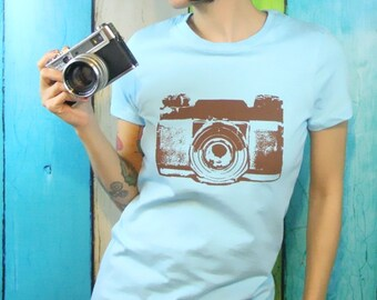 Womens Camera T-Shirt Camera  Screen Print - Blue and Brown Vintage Inspired Graphic - Top - Small, Med, Large and XL