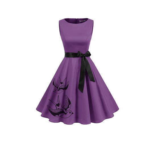 Plus size Purple Dress Retro Red Pin Up Tattoo inspired Dresses Women\'s  clothing with birds womens clothing 2XL 3XL A-line Fit and Flare