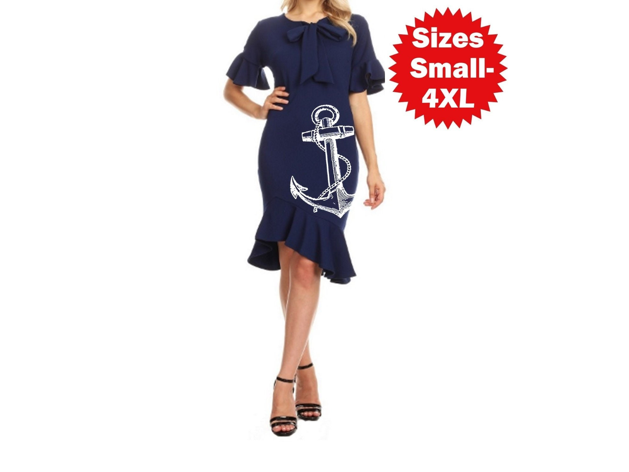 Nautical Anchor Dress Plus Size Clothing Sailor Rockabilly Dresses Pin up  Vintage Style Navy Anchors Mermaid hemline ruffle bell sleeves