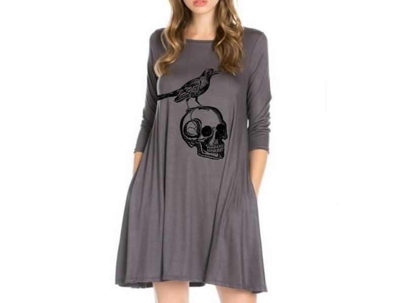 31f4a7a4279 Womens Skull Dress with pockets Plus Size Dresses Skulls Shirt Women's Plus  Size Clothing Apparel Edgar Allen Poe print long sleeve