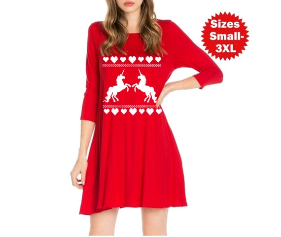 Plus Size Valentine Dress Unicorns and hearts Dresses Unicorn tunic Women\'s  Valentines shirts Casual Clothing Ladies Apparel Jersey material