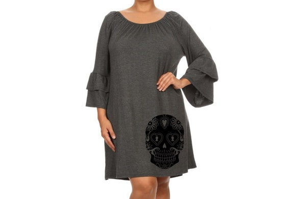 Sugar Skull Dress Women\'s Plus Size Clothing Black Dress ruffled dresses  with skulls cute tunic screen printed clothing pin up 2XL 3XL sizes