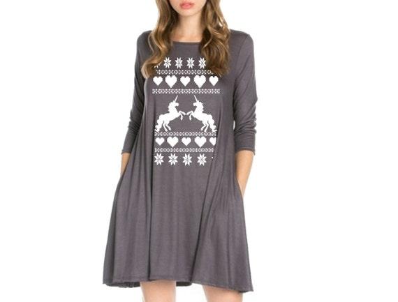 Plus Size Holiday Unicorn Dress Christmas Dresses Unicorns Etsy