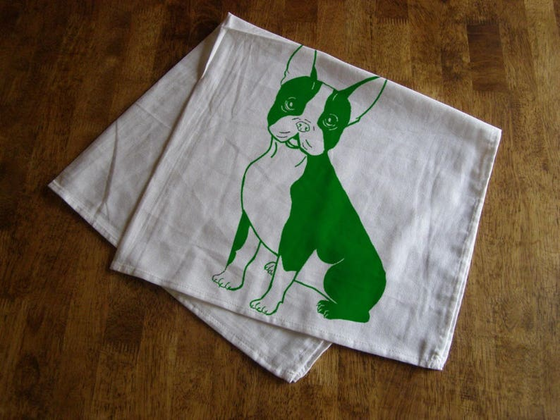 French Bull Dog Tea Towel Kitchen Towels Animal Print Dog Gifts Towels  Gifts Dogs Home Decor Screen Print Frenchies Housewares