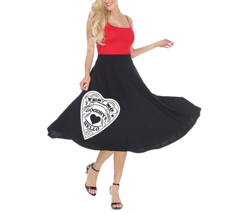 Women\'s Swing Skirts Plus Size Midi Skirt Spooky Halloween Print Fit and  Flare cute dress curvy pin up clothes occult prints 50\'s vintage
