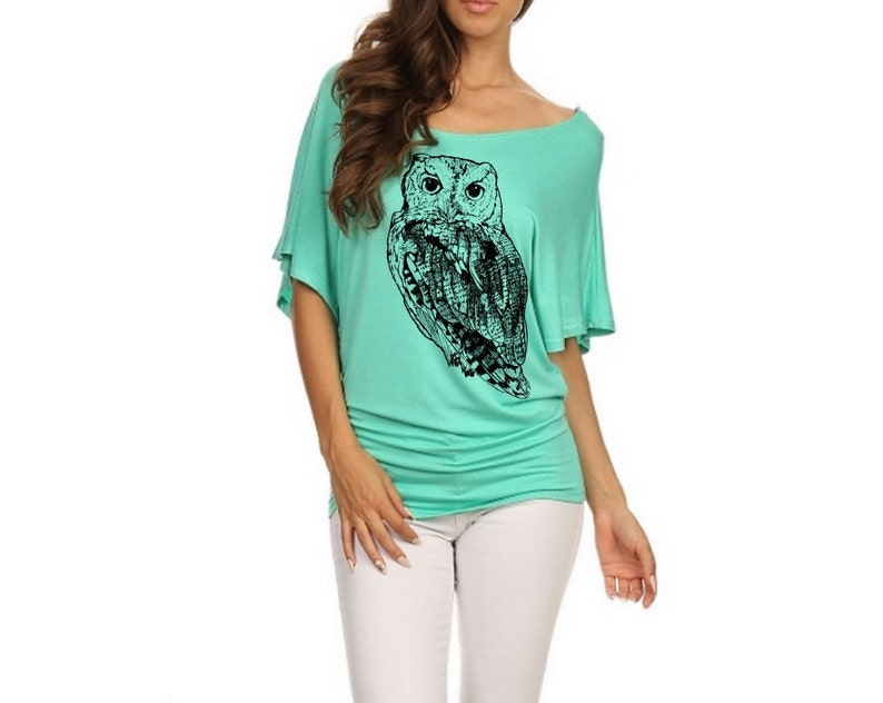 83b8de4ca56edd Off shoulder dolman shirt Womens owl print Slouchy Shirts