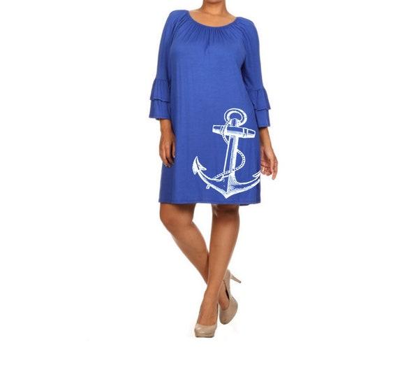 Plus Size anchor Dress Women\'s Clothing Black Dress ruffled Nautical  dresses cute tunic screen printed sailor clothing pin up 2XL 3XL sizes
