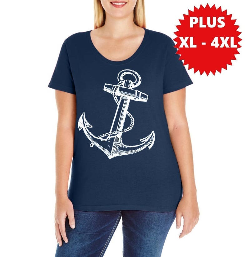 cb85d20ad Plus Size Anchor Shirts Curvy Women's nautical shirt | Etsy