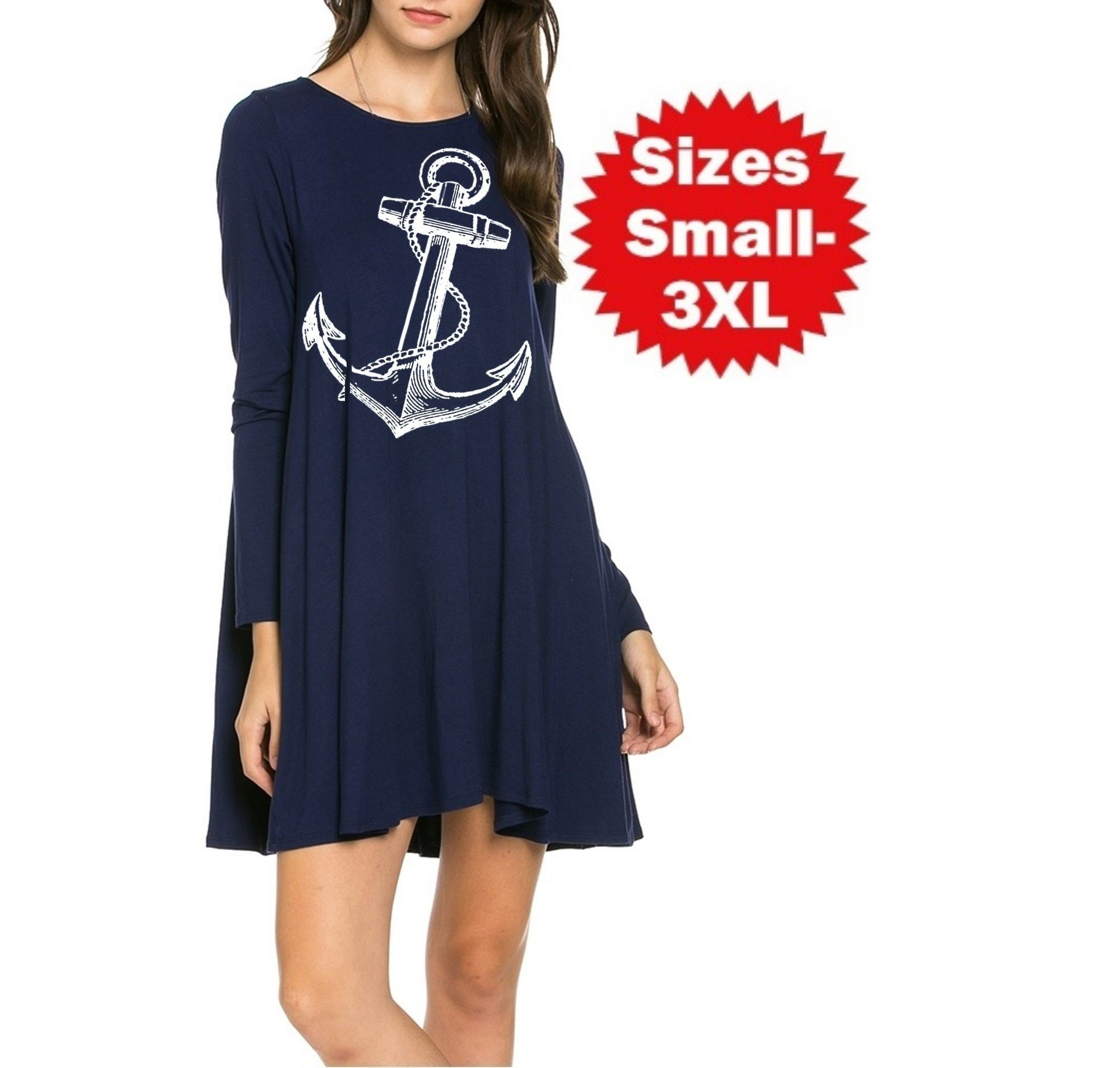 Nautical Anchor Dress Plus Size Clothing Solid Anchors Women\'s Sailor  dresses ladies apparel Cute Vintage inspired frockPin Up 3XL