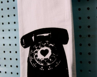 Kitchen Towel Rotary Phone - Black - Vintage Inspired Graphic -Screen Print - Indie Housewares