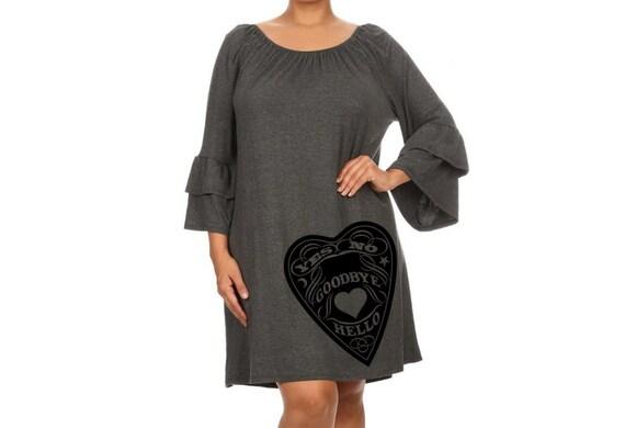 Spirit board dress, Women\'s Gothic Dress, Occult print, Plus size Vintage  Dresses, Pin up punk rock clothing, Kimono smocked shift dress