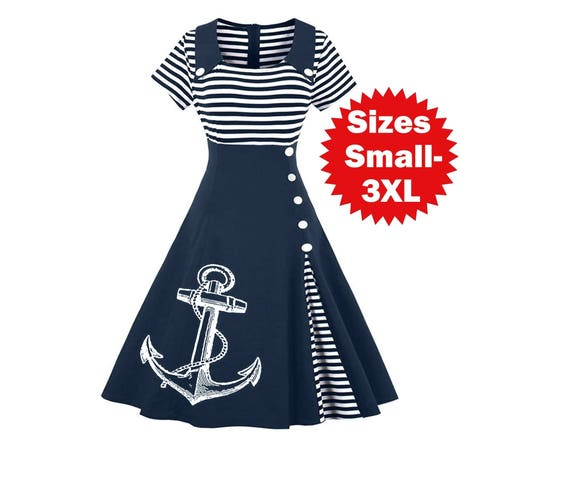 Nautical Anchor Dress Plus Size Clothing Striped Anchors Sailor dresses  ladies apparel Screen Print Cute Vintage clothing Pin Up 3XL 4XL