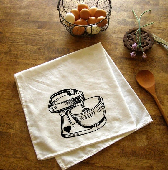 Vintage Mixer Kitchen Towel Red Baking Tea Towels CUTE Kitchen | Etsy
