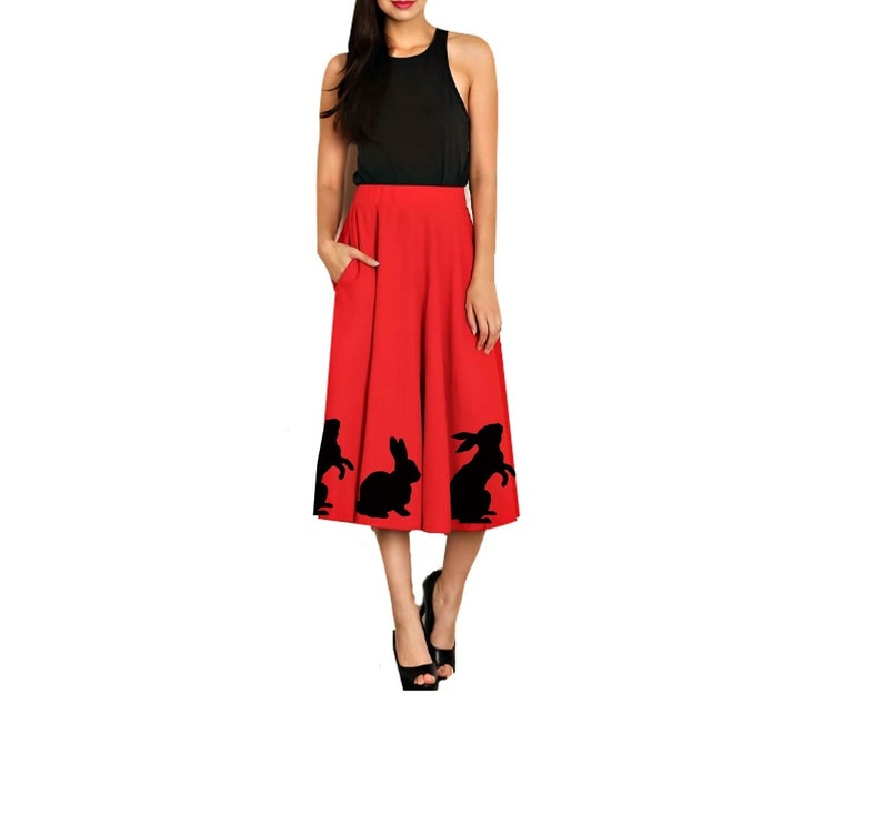 aa623a69115 Womens Swing Skirt Animal Print red Fit and Flare Plus size Skirts clothing  bunny Easter dress rabbits pin up clothing rabbit prints 50 s