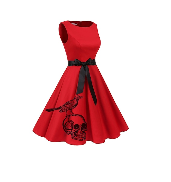 Womens Skull Dress Retro Red Pin Up Rockabilly Dresses Women\'s clothing  Skulls and birds plus size clothing bridesmaids A-line Fit and Flare