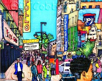 "Art Coaster 4""x4"" Apollo Girl, Harlem, by PJ Cobbs New York Neighborhoods Theater Landmark Girl Neon Sign 125th Street Uptown NYC"