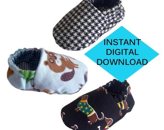 Reversible Baby Shoes Sewing Pattern- PDF tutorial in English with Imperial measurements