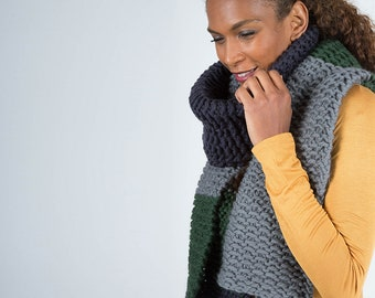Multicoloured Oversized Wool Scarf, Chunky Knit Men's Scarf, Winter Warmer, Grey Blue and Green Scarf