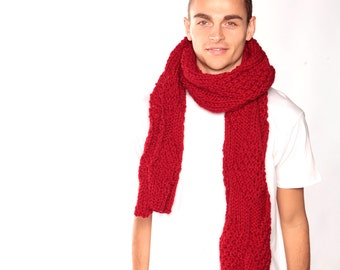 Red Winter scarf, Knitted red scarf, Boyfriend Gift