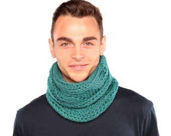 Teal Chunky Knit Snood, Chunky Knit Wool Scarf by Urbanknit
