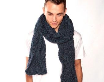 Dark Turquoise Knitted Scarf, Long blue winter scarf, Chunky urbanknit scarf, Boyfriend gift