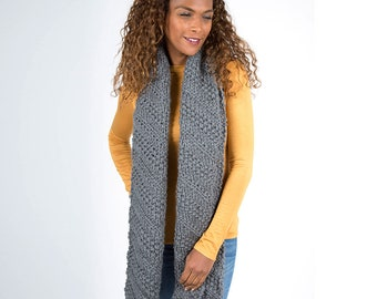 Grey Wool Scarf, Long Textured Knit scarf