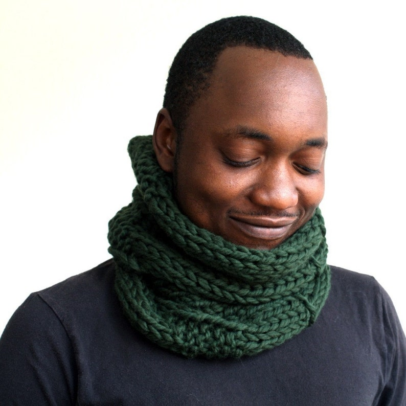 Green Wool Scarf Mens Cowl Knitted snood Gift for him image 1