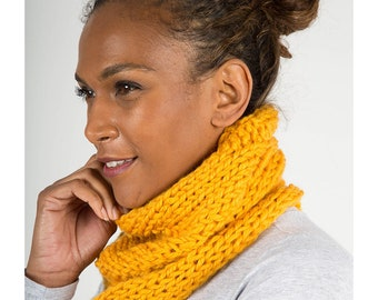 Yellow Chunky Knit Snood, Winter Warmer, Wool Knitted Tube Scarf
