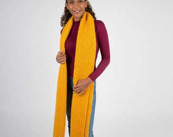 Giant Yellow Chunky Knit Scarf, Yellow Oversized Scarf in Wool, Luxury unisex scarf