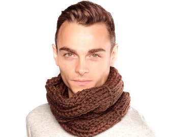 Chocolate Brown Chunky Knit Snood, Gift for Boyfriend, Hand-knitted Wool Scarf
