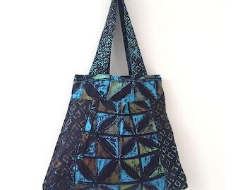 Tote bag, Tie Dye Tote Bag, Cotton tote bag, African Violet Bag, summer bag, Bag for life, floral fabric tote, blue and green bag, batik