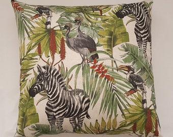 Tropical Print Cushion, Extra Large Throw Pillow, Zebra and Bird Print Cushion