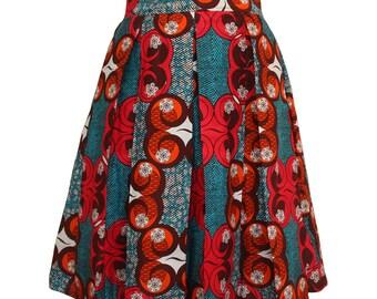 African print skirt, Teal and Orange Skirt, Ankara Skirt, Pleated Skirt, Summer Skirt, Short Skirt, African fashion, Colourful skirt