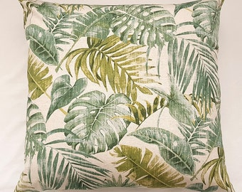 Tropical Plants Print Cushion, Extra Large Throw Pillow, Beige and Green Cushion