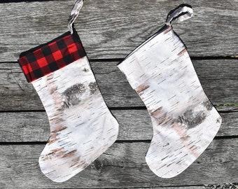 Birch Bark/Buffalo Plaid Christmas Stocking