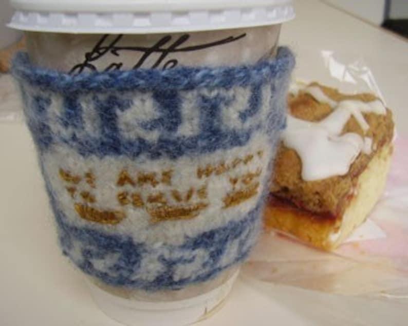 PATTERN  Greek Deli Cup Coffee Cozy image 0